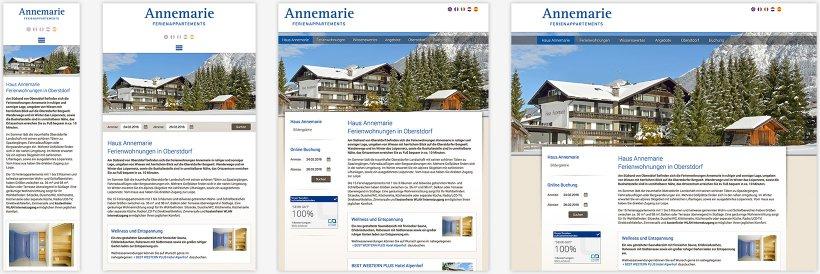 Webdesign von Ferienwohnungen Annemarie