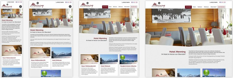 Webdesign von Hotel Menning