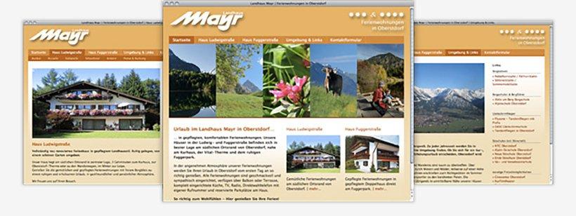 Webdesign von Landhaus Mayr
