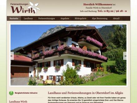 Webdesign von Ferienwohnungen Wirth