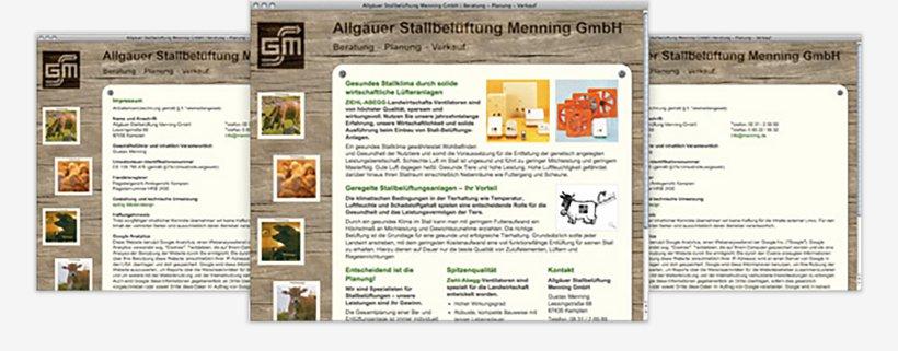 Webdesign von Allgäuer Stallbelüftung