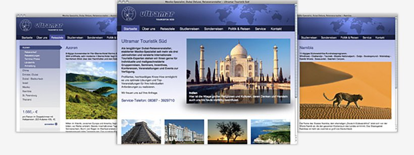 Webdesign von Ultramar Touristik