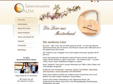 Webdesign von Saiteninstrumente Salem