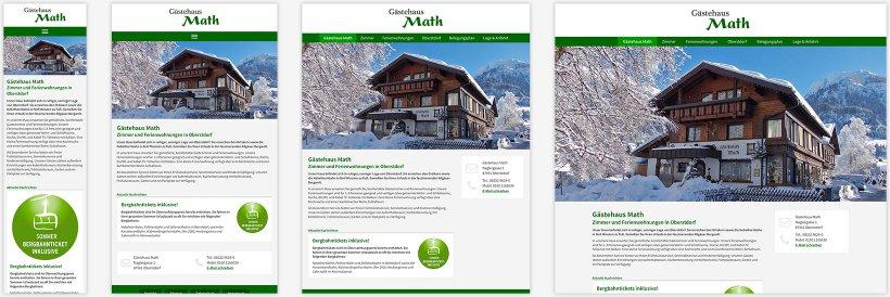 Webdesign von Gästehaus Math