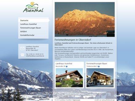 Webdesign von Landhaus Auenthal