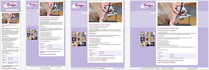 Webdesign von Mode Coiffeur Schiffer