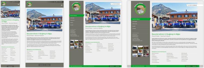 Webdesign von Rund um's Bauen