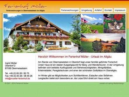 Webdesign von Ferienhof Müller