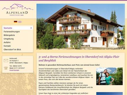 Webdesign von Ferienwohnungen Alpenland