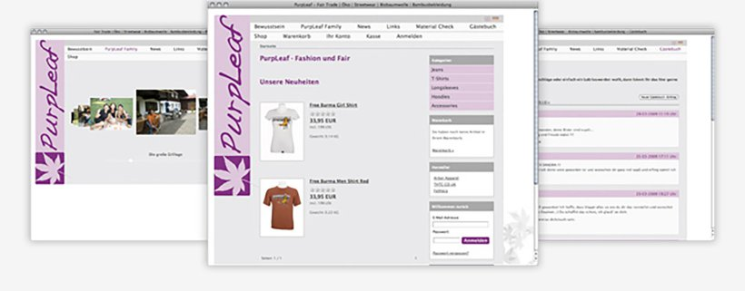 Webdesign von PurpLeaf - Fashion und Fair