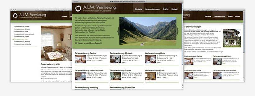 Webdesign von ALM Vermietung