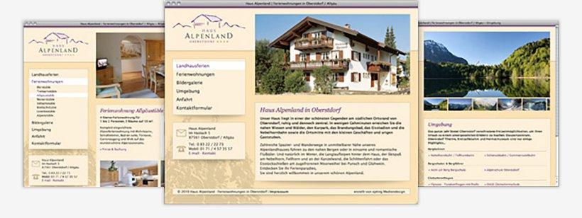 Webdesign von Haus Alpenland