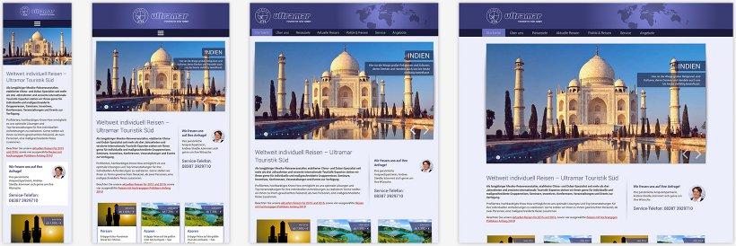 Webdesign von Ultramar Touristik Süd