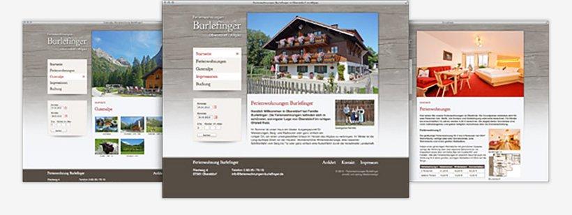 Webdesign von Ferienwohnungen Burlefinger