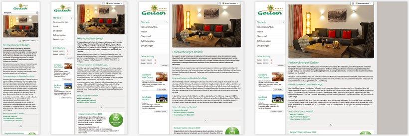 Webdesign von Ferienwohnungen Gerlach