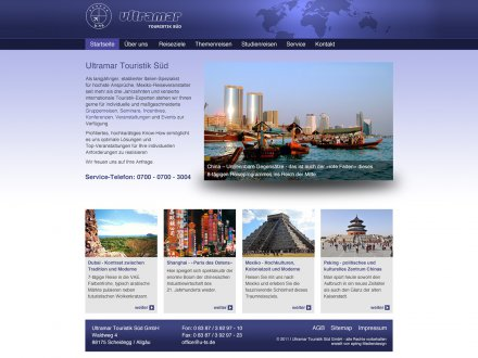 Webdesign von Ultramar Touristik